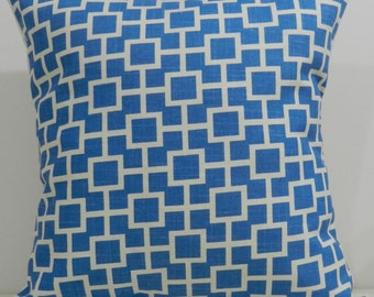 New 18x18 inch Designer Handmade Pillow Cases. Blue and white cat's cradle.