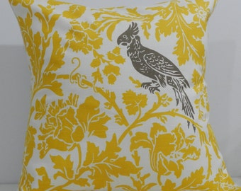 New 18x18 inch Designer Handmade Pillow Case. Yellow floral with kelp bird.