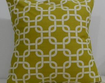 New 18x18 inch Designer Handmade Pillow Cases. chartreuse & natural pattern.