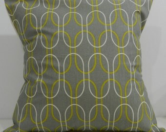New 18x18 inch Designer Handmade Pillow Case with a retro look in grey, chartreuse and natural