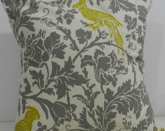 New 18x18 inch Designer Handmade Pillow Case in chartreuse and grey on natural