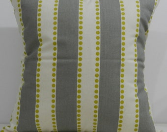 New 18x18 inch Designer Handmade Pillow Cases in chartreuse dots and grey stripes on natural