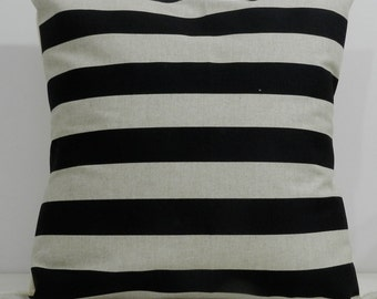 New 18x18 inch Designer Handmade Pillow Cases in black stripe on natural color fabric