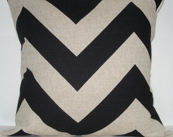 New 18x18 inch Designer Handmade Pillow Cases in large scale black and natural chevron, zig zag pattern