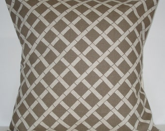New 18x18 inch Designer Handmade Pillow Case. Bamboo pattern in Kelp on Linen colored fabric.