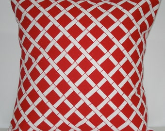 New 18x18 inch Designer Handmade Pillow Case. Bamboo pattern in red and white