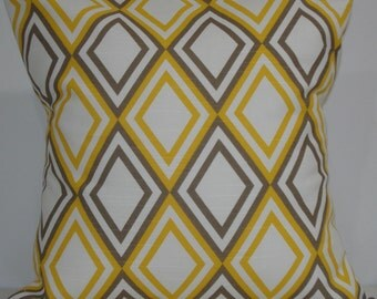 New 18x18 inch Designer Handmade Pillow Case in taupe and yellow diamond pattern.