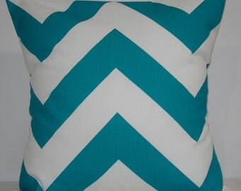 New 18x18 inch Designer Handmade Pillow Case in turquoise cheveron pattern