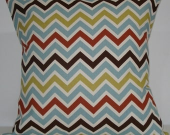 New 18x18 inch Designer Handmade Pillow Case in blue, brown, olive and rust zig zag chevron pattern.
