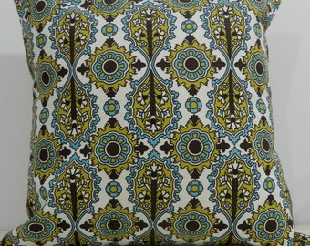 New 18x18 inch Designer Handmade Pillow Case in chartreuse, turquoise and brown geometric pattern