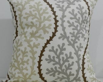 New 18x18 inch Designer Handmade Pillow Case stone grey, beige and brown on white