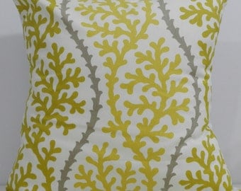 New 18x18 inch Designer Handmade Pillow Case in gold-yellow, taupe and white coral