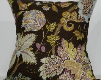 New 18x18 inch Designer Handmade Pillow Case in brown, blue, lavender floral