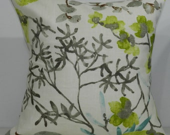New 18x18 inch Designer Handmade Pillow Case in chartreuse, aqua and brown watercolor floral