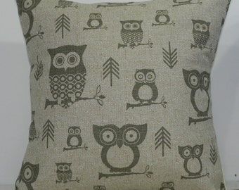 New 18x18 inch Designer Handmade Pillow Case in stone owls on textured