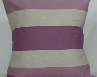 New 18x18 inch Designer Handmade Pillow Case in lavender stripe