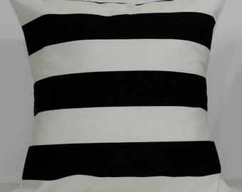 New 18x18 inch Designer Handmade Pillow Cases in black and white stripe