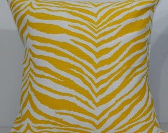 New 18x18 inch Designer Handmade Pillow Case. Zebra print in yellow and white