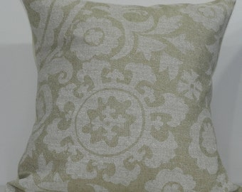 New 18x18 inch Designer Handmade Pillow Case. Suzani print in white on natural textured