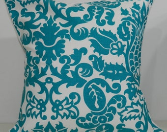 New 18x18 inch Designer Handmade Pillow Cases in turquoise and white