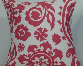 New 18x18 inch Designer Handmade Pillow Case. Suzani print in pink