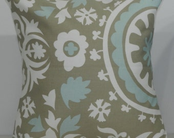 New 18x18 inch Designer Handmade Pillow Case. Suzani print in powder blue and taupe