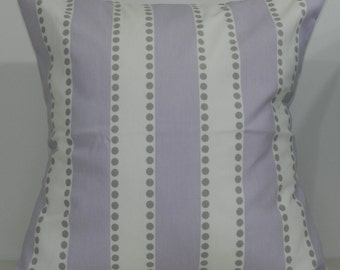 New 18x18 inch Designer Handmade Pillow Cases. wide lavender stripe with grey dots.