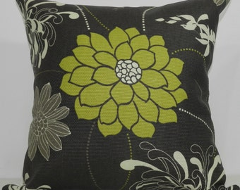 New 18x18 inch Designer Handmade Pillow Case in grey and green floral