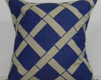New 18x18 inch Designer Handmade Pillow Case in peacock and taupe lattice