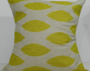 New 18x18 inch Designer Handmade Pillow Case in citrus and taupe ikat