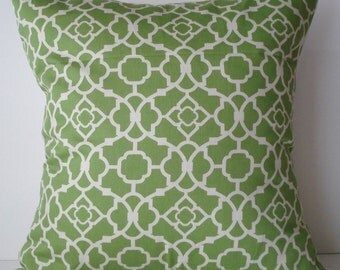 New 18x18 inch Designer Handmade Pillow Case in green and white lattice pattern.