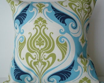 New 18x18 inch Designer Handmade Pillow Case in blue and green damask.