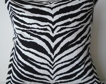 New 18x18 inch Designer Handmade Pillow Case. Zebra print in black and white