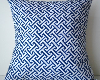 New 18x18 inch Designer Handmade Pillow Cases in blue and white graphic pattern