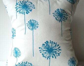 New 18x18 inch Designer Handmade Pillow Case with turquoise dandelions on white