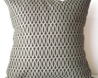 New 18x18 inch Designer Handmade Pillow Case in mint lattice on brown