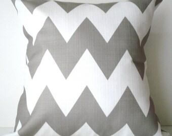 New 18x18 inch Designer Handmade pillow case in warm grey and white chevron