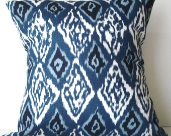 New 18x18 inch Designer Handmade Pillow Case in blue and white ikat