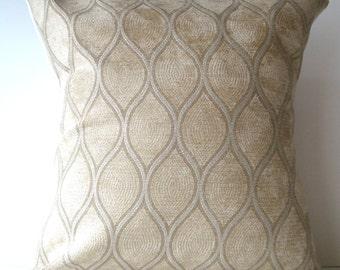 New 18x18 inch Designer Handmade Pillow Case. cream velvet textured fabric.