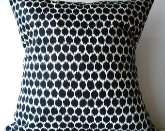 New 18x18 inch Designer Handmade Pillow Case. black on cream ikat dots.