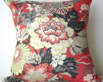 New 18x18 inch Designer Handmade Pillow Case. coral floral linen.