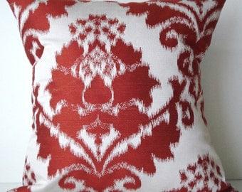 New 18x18 inch Designer Handmade Pillow Case red on white ikat damask