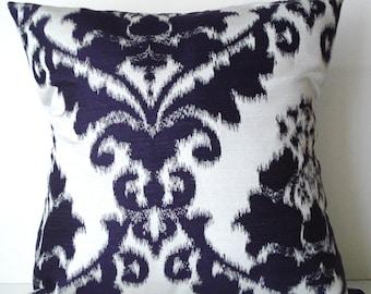 New 18x18 inch Designer Handmade Pillow Case purple on white ikat damask