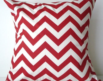 New 18x18 inch Designer Handmade Pillow Case. In red and cream chrvron zig zag pattern.