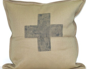 New 20x20 inch Designer Handmade Pillow Case with hand painted cross