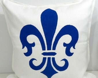 New 20x20 inch Designer Handmade Pillow Case with hand painted fleur de lis