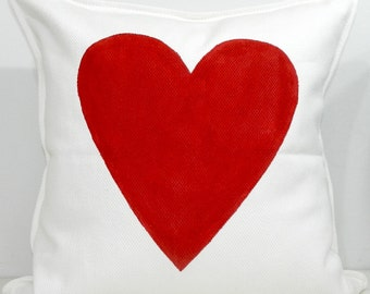 New 20x20 inch Designer Handmade Pillow Case with hand painted red heart
