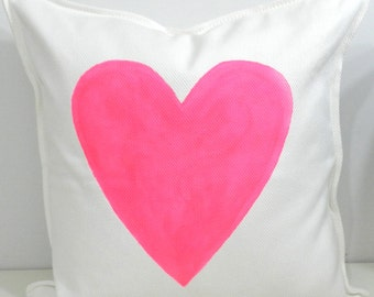 New 20x20 inch Designer Handmade Pillow Case with hand painted hot pink heart