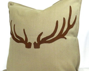 New 20x20 inch Designer Handmade Pillow Case with hand painted antlers