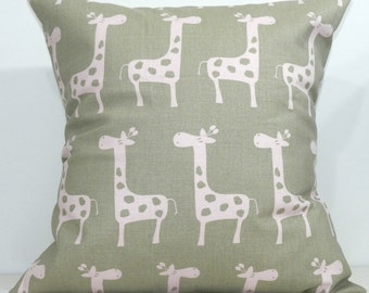 New 18x18 inch Designer Handmade Pillow Cases in pink on taupe giraffe
